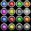 Remove event from calendar white icons in round glossy buttons with steel frames on black background. - Remove event from calendar white icons in round glossy buttons on black background