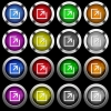 Export with inner arrow white icons in round glossy buttons with steel frames on black background. - Export with inner arrow white icons in round glossy buttons on black background