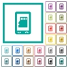 Mobile memory card flat color icons with quadrant frames - Mobile memory card flat color icons with quadrant frames on white background