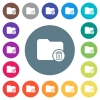 Delete directory flat white icons on round color backgrounds - Delete directory flat white icons on round color backgrounds. 17 background color variations are included.