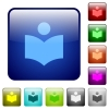Library color square buttons - Library icons in rounded square color glossy button set