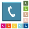 Telephone call symbol white icons on edged square buttons - Telephone call symbol white icons on edged square buttons in various trendy colors