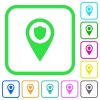 Police station GPS map location vivid colored flat icons - Police station GPS map location vivid colored flat icons in curved borders on white background