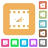 Movie adjusting rounded square flat icons - Movie adjusting flat icons on rounded square vivid color backgrounds.