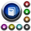 Album round glossy buttons - Album icons in round glossy buttons with steel frames
