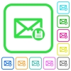 Archive mail vivid colored flat icons - Archive mail vivid colored flat icons in curved borders on white background