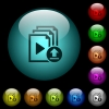 Upload playlist icons in color illuminated glass buttons - Upload playlist icons in color illuminated spherical glass buttons on black background. Can be used to black or dark templates