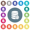 Cloud database flat white icons on round color backgrounds. 17 background color variations are included. - Cloud database flat white icons on round color backgrounds