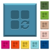 Refresh component engraved icons on edged square buttons - Refresh component engraved icons on edged square buttons in various trendy colors