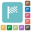 Race flag rounded square flat icons - Race flag white flat icons on color rounded square backgrounds