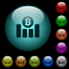 Bitcoin financial graph icons in color illuminated spherical glass buttons on black background. Can be used to black or dark templates - Bitcoin financial graph icons in color illuminated glass buttons