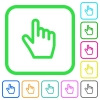 Hand cursor vivid colored flat icons - Hand cursor vivid colored flat icons in curved borders on white background