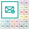 Unlock mail flat color icons with quadrant frames - Unlock mail flat color icons with quadrant frames on white background