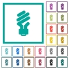 Energy saving fluorescent light bulb flat color icons with quadrant frames on white background - Energy saving fluorescent light bulb flat color icons with quadrant frames