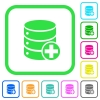 Add to database vivid colored flat icons - Add to database vivid colored flat icons in curved borders on white background