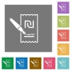 Signing new Shekel cheque square flat icons - Signing new Shekel cheque flat icons on simple color square backgrounds