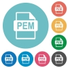 PEM file format flat round icons - PEM file format flat white icons on round color backgrounds