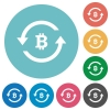 Bitcoin pay back flat round icons - Bitcoin pay back flat white icons on round color backgrounds