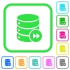 Database macro fast forward vivid colored flat icons - Database macro fast forward vivid colored flat icons in curved borders on white background