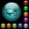 Desktop computer icons in color illuminated glass buttons - Desktop computer icons in color illuminated spherical glass buttons on black background. Can be used to black or dark templates