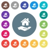 Home insurance flat white icons on round color backgrounds - Home insurance flat white icons on round color backgrounds. 17 background color variations are included.