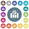 Ruble financial graph flat white icons on round color backgrounds. 17 background color variations are included. - Ruble financial graph flat white icons on round color backgrounds