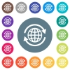 International flat white icons on round color backgrounds. 17 background color variations are included. - International flat white icons on round color backgrounds