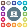 Laptop with Euro sign flat white icons on round color backgrounds. 17 background color variations are included. - Laptop with Euro sign flat white icons on round color backgrounds