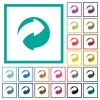 Eco packing symbol flat color icons with quadrant frames - Eco packing symbol flat color icons with quadrant frames on white background