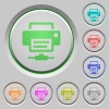Network printer color icons on sunk push buttons - Network printer push buttons