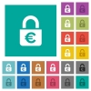 Locked euros square flat multi colored icons - Locked euros multi colored flat icons on plain square backgrounds. Included white and darker icon variations for hover or active effects.