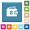 Bitcoin wallet white icons on edged square buttons - Bitcoin wallet white icons on edged square buttons in various trendy colors