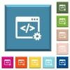 Web development white icons on edged square buttons - Web development white icons on edged square buttons in various trendy colors