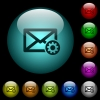 Mail settings icons in color illuminated glass buttons - Mail settings icons in color illuminated spherical glass buttons on black background. Can be used to black or dark templates