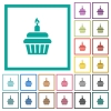 Birthday cupcake flat color icons with quadrant frames - Birthday cupcake flat color icons with quadrant frames on white background