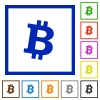 Bitcoin digital cryptocurrency flat color icons in square frames on white background - Bitcoin digital cryptocurrency flat framed icons