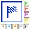 Race flag flat framed icons - Race flag flat color icons in square frames on white background