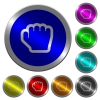 Grab cursor luminous coin-like round color buttons - Grab cursor icons on round luminous coin-like color steel buttons