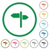 Signpost flat icons with outlines - Signpost flat color icons in round outlines on white background