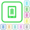 Mobile battery status vivid colored flat icons - Mobile battery status vivid colored flat icons in curved borders on white background
