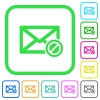 Forbidden mail vivid colored flat icons - Forbidden mail vivid colored flat icons in curved borders on white background