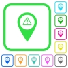 GPS map location warning vivid colored flat icons - GPS map location warning vivid colored flat icons in curved borders on white background