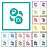 Ruble Shekel money exchange flat color icons with quadrant frames - Ruble Shekel money exchange flat color icons with quadrant frames on white background
