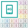 Fourth generation mobile connection speed flat color icons with quadrant frames - Fourth generation mobile connection speed flat color icons with quadrant frames on white background