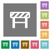 Construction barrier flat icons on simple color square backgrounds - Construction barrier square flat icons