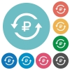 Ruble pay back flat round icons - Ruble pay back flat white icons on round color backgrounds