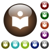 Library color glass buttons - Library white icons on round color glass buttons
