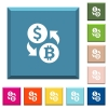 Dollar Bitcoin money exchange white icons on edged square buttons - Dollar Bitcoin money exchange white icons on edged square buttons in various trendy colors