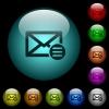 Mail options icons in color illuminated glass buttons - Mail options icons in color illuminated spherical glass buttons on black background. Can be used to black or dark templates