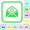 Open mail with email symbol vivid colored flat icons - Open mail with email symbol vivid colored flat icons in curved borders on white background